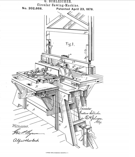 A table saw patent filed in 1878 Table Saw Patent Drawing (1878).png