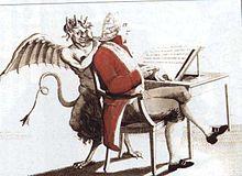 Gravure coloriée représentant une homme assis de profil devant une petite table sur laquelle est posé un lutrin de face, qui présente un papier comportant des inscriptions. Le personnage est vêtu d'un manteau rouge et porte des cheveux blancs et bouclés. Derrière lui, un diable à pieds griffus, cornes, ailes et queue fourchue lui parle à l'oreille à l'aide d'un cornet acoustique.