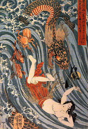 The Dream of the Fisherman's Wife - Woodblock print by Utagawa Kuniyoshi depicting Tamatori's escape from Ryūjin and his sea creatures