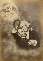 A drawing of George Washington hugging Lincoln in the clouds with angels in the background.