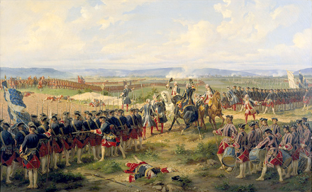 The Battle of Fontenoy in 1745 where Sackville first distinguished himself. He was wounded and captured by the French. The Battle of Fontenoy 1745.png