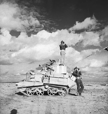 The crew of a Mk VIB Light Tank looking for any movement of the enemy near Tobruk, 28 November 1941 The British Army in North Africa 1941a E6822.jpg