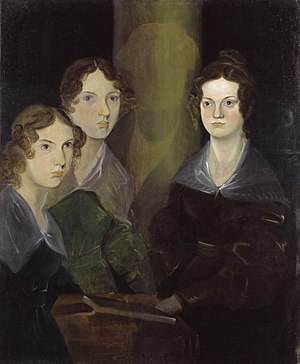 Brontë family - Anne, Emily, and Charlotte Brontë, by their brother Branwell (c. 1834). He painted himself among his sisters, but later removed the image so as not to clutter the picture.
