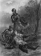 A man, wearing armour and a surcoat, lies on the ground. His helmet is off, and his face is turned towards a kneeling knight, who is supporting him. Standing behind the two is another knight, whose sword and shield are held at the ready.