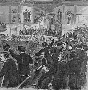 1860 Democratic National Conventions - Wood engraving illustrating the Charleston convention