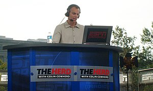 Colin Cowherd during a live broadcast of his radio program on the campus of The University of Iowa in 2010.