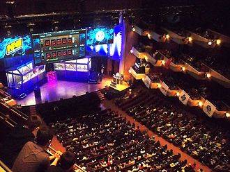 The International (Dota 2) - A crowd watches as the grand finals of The International 2012 commence in Benaroya Hall, Seattle, Washington.
