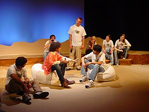 Matthew Shepard Foundation - A group scene from a 2008 performance of The Laramie Project at Mary Institute and St. Louis Country Day School