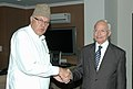 The Minister of Electricity and Energy of Egypt, Mr. Hassan Younes meeting the Union Minister of New and Renewable Energy, Dr. Farooq Abdullah, in New Delhi on November 16, 2009.jpg