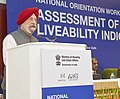 The Minister of State for Housing and Urban Affairs (IC), Shri Hardeep Singh Puri addressing at the inauguration of the National Orientation Workshop on Assessment of Liveability Indices for 116 Cities in India, in New Delhi.jpg