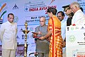 The President, Shri Pranab Mukherjee lighting the lamp to inaugurate the 5th Edition of Binennial Aviation Event on the theme 'India's Civil Aviation Sector Potential a Global Manufacturing & MRO Hub', at Hyderabad.jpg