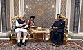 The Prime Minister, Shri Narendra Modi at the delegation level talks with the Sultan of Oman, Sultan Qaboos bin Said Al Said, at Bait Al Baraka, in Muscat, Oman on February 11, 2018 (1).jpg