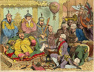 James Gillray - The reception of the Diplomatique (Macartney) and his suite, at the Court of Pekin. Published in September 1792.