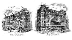 Waldorf Astoria New York - Engraved vignettes of the original separate hotels