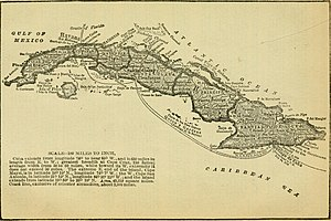 Old Bahama Channel - 1899 map with Old Bahama Channel−Canal Viejo de Bahama.
