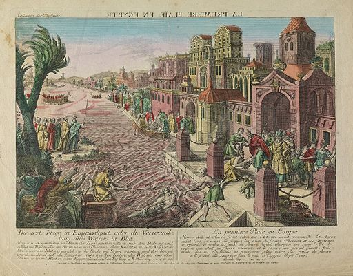 The first plague in Egypt, rivers turned to blood. Wellcome V0010560