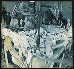 "The fo'c'stle head of the ""Aurora"" sheathed with ice after a blizzard in Commonwealth Bay (Australasian Antarctic Expedition, 1911-1914) (2) (6173424853).jpg"