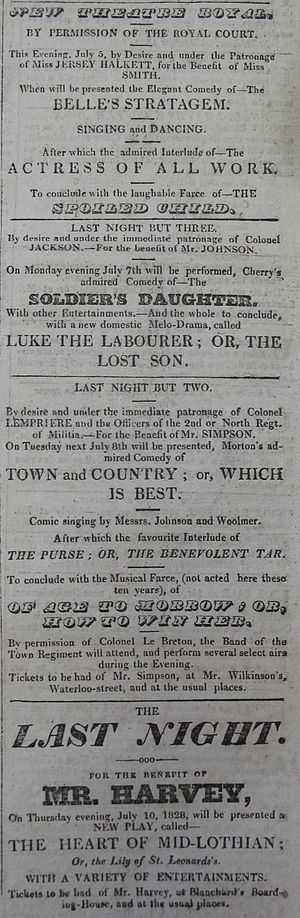 Theatre of Jersey - Advertisement for the programme at the Theatre Royal, Jersey: 5 July 1828. Included in the bill: The Belle's Stratagem