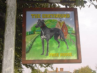Eldersfield - The sign that hangs in front of the Greyhound pub by local artist Kate Sanger-Davies
