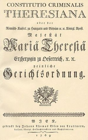 Law of the Czech Republic - Constitutio Criminalis Theresiana, 1768