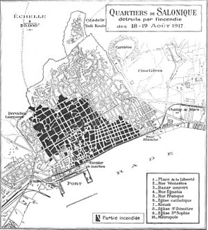 Great Thessaloniki Fire of 1917 - A map showing the huge area destroyed by the fire.