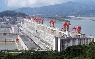 Climate change mitigation - The 22,500 MW nameplate capacity Three Gorges Dam in the People's Republic of China, the largest hydroelectric power station in the world.