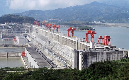 The 22,500 MW Three Gorges Dam in the People's Republic of China, the largest hydroelectric power station in the world. ThreeGorgesDam-China2009.jpg