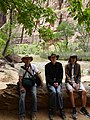 Three hikers on River Walk Trail, Zion National Park.jpg