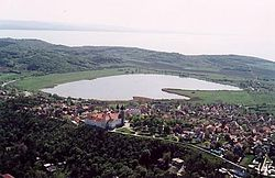 Tihany from birdview with Belső-tó (Inner Lake) in the centre and Lake Balaton in the background