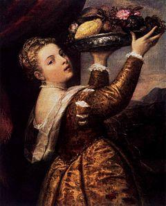 Dziewczyna z owocami na tacy