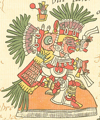 Tlāhuizcalpantecuhtli - Tlāhuizcalpantecuhtli, as depicted on page 14 of the Codex Telleriano-Remensis. The sign above him is the year 1 Reed in the Aztec calendar. (Click to enlarge)