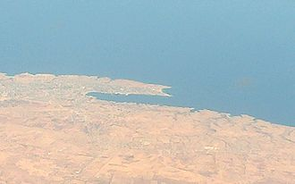 Tobruk - An aerial image of Tobruk's harbour.
