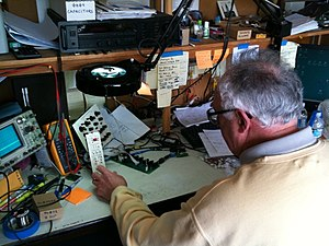 Tom Oberheim - Tom Oberheim at his workbench, 2010