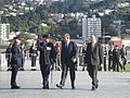 Tony Abbott and John Key survey military demonstration.JPG