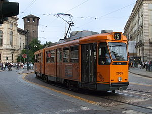 English: Tram in Turin, Italy Italiano: Tram T...