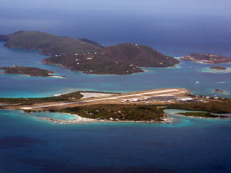 Little Camanoe - Little Camano is to the mid-left, behind Tortola airport's runway