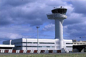 Air traffic control - Airport traffic control tower at Bordeaux–Mérignac Airport.