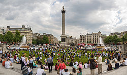 Trafalgar Square temporarily grassed over