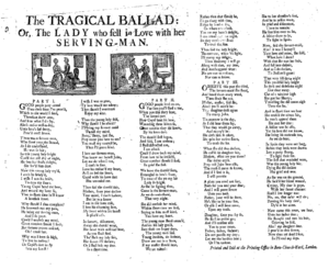 Broadside (music) - An eighteenth-century broadside ballad
