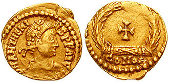 Anthemius - Tremissis of Emperor Anthemius. His title is Our Lord, Anthemius, Pious, Fortunate, Augustus.