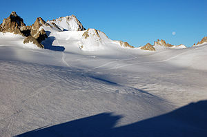 Trient Hut - Trient Glacier and Aiguilles Dorées (left)