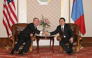 Tsakhiagiin Elbegdorj - U.S. President George W. Bush meets Mongolian Prime Minister Elbegdorj in Ulaanbaatar on 21 November 2005