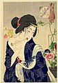 Tsukioka Yoshitoshi - Looking as if she is waking up - the appearance of a maiden of the Koka era.jpg