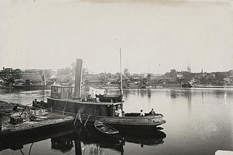 Biddeford, Maine - Tugboat Hersey tied up at Bragdon's Wharf, Biddeford, 1912