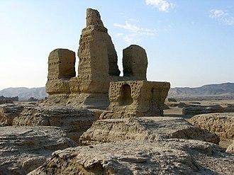 Jiaohe ruins - Buddhist stupa at Jiaohe Ruins.