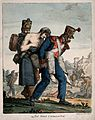 Two soldiers carrying a wounded comrade off the battlefield. Wellcome V0015309.jpg