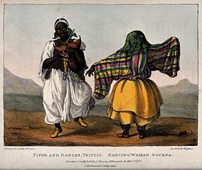Two women are dancing their native dances in their costumes. Wellcome V0040421.jpg