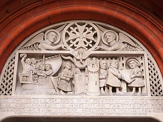 French Protestant Church of London - Image: Tympanum from 1950 at the French Protestant Church of London