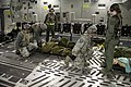 U.S. Airmen lower a simulated patient to the deck of a C-17 Globemaster III aircraft during the Joint Readiness Training Center 14-03 field training exercise at Fort Polk, La., Jan. 17, 2014 140117-F-RW714-404.jpg
