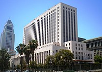 Buitenaanzicht van het Central District of California Courthouse-gebouw in Los Angeles, Californië